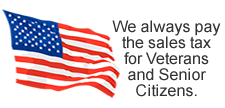 We pay the sales tax for veterans and senior citizens